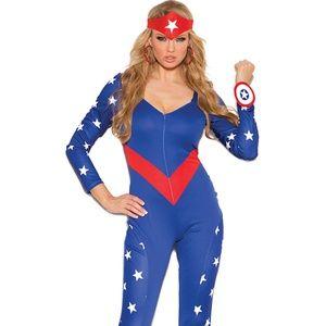 American Hero Costume Star Print Jumpsuit 3PC
